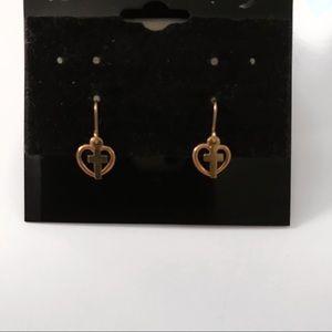 REAL GOLD cross & heart earrings